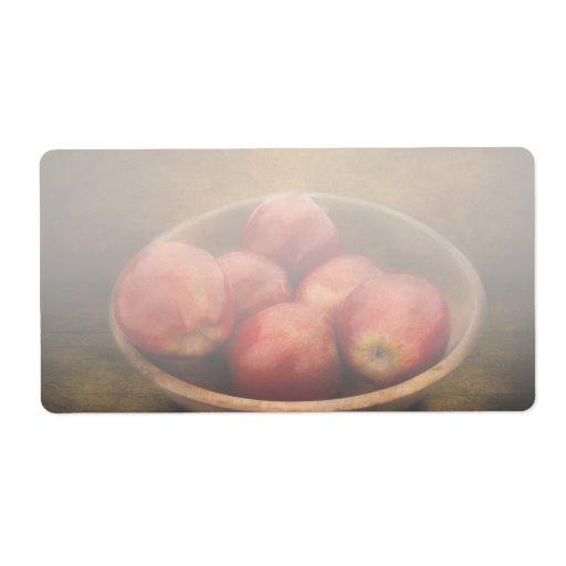Comida - manzanas - un cuenco de manzanas etiqueta de envío