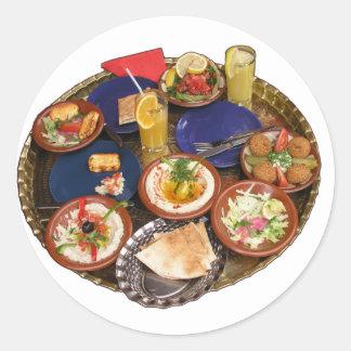 Comida mediterránea mezclada pegatinas redondas