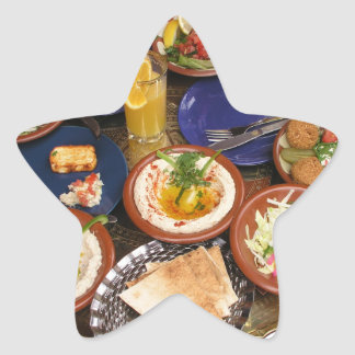 Comida mediterránea mezclada pegatinas forma de estrellaes