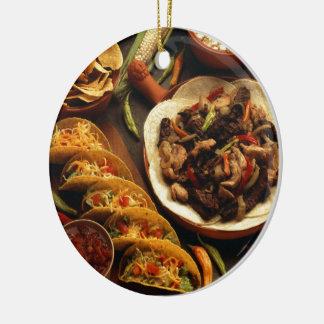 Comida mexicana adorno redondo de cerámica