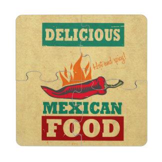 Comida mexicana posavasos de puzzle