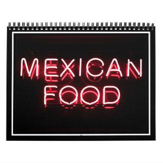 COMIDA MEXICANA - señal de neón roja Calendario