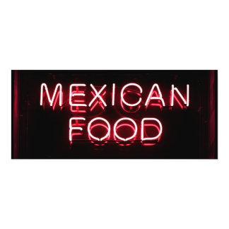 COMIDA MEXICANA - señal de neón roja Invitación 10,1 X 23,5 Cm