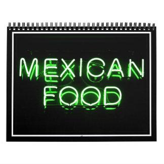 COMIDA MEXICANA - señal de neón verde Calendario De Pared