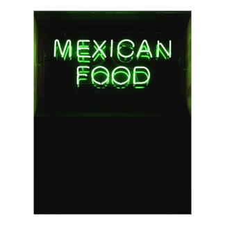 """COMIDA MEXICANA - señal de neón verde Folleto 8.5"""" X 11"""""""