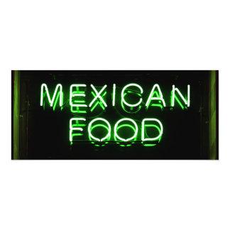 COMIDA MEXICANA - señal de neón verde Invitación 10,1 X 23,5 Cm