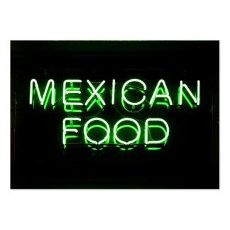COMIDA MEXICANA - señal de neón verde Tarjetas De Visita Grandes