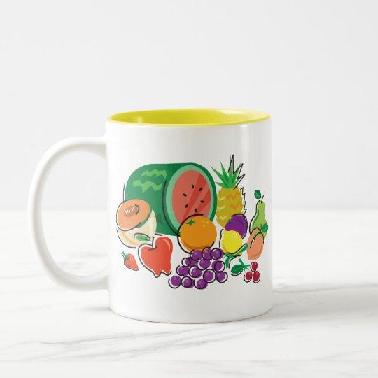 Comida para Thought_Totally Fruity_Cornucopia Taza De Café De Dos Colores