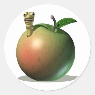 Comida que come Apple Pegatina Redonda