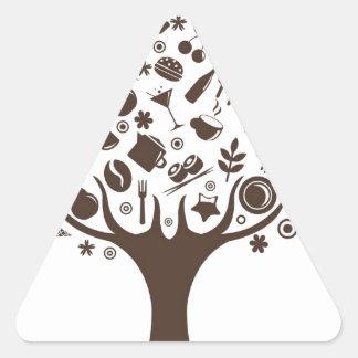 Comida que crece en la torta del cafeto de la pegatina triangular