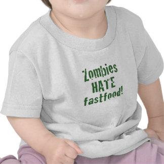 Comida rápida del odio de los zombis camisetas