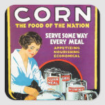 Comida retra del maíz del kitsch del vintage de la calcomanía cuadradas personalizada
