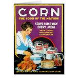 Comida retra del maíz del kitsch del vintage de la felicitacion