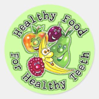 Comida sana para los dientes sanos etiquetas redondas