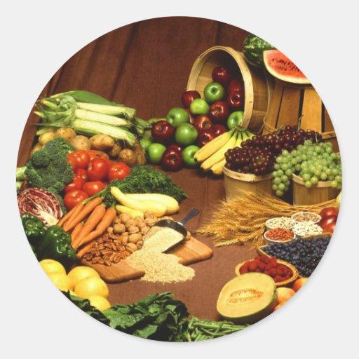 Comida sana pegatina redonda