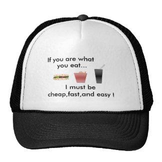 comida, si usted es lo que, usted come…, yo debe s gorra