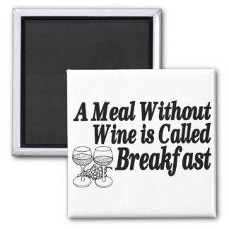 Comida sin el vino imán cuadrado