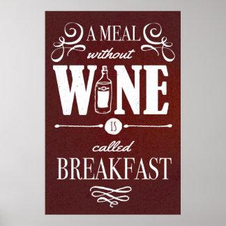 Comida sin el vino póster