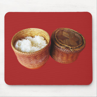 Comida tailandesa pegajosa del Lao del arroz [Khao Alfombrillas De Raton