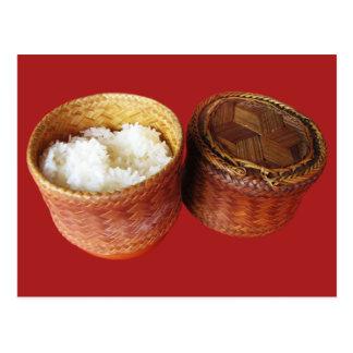 Comida tailandesa pegajosa del Lao del arroz [Khao Tarjetas Postales