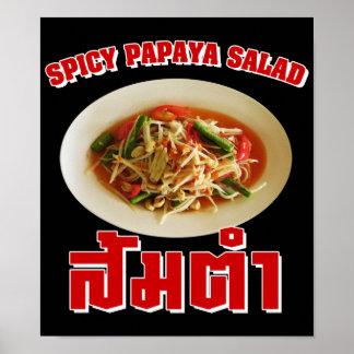 Comida tailandesa picante del Lao de la ensalada d Impresiones