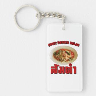 Comida tailandesa picante del Lao de la ensalada Llavero Rectangular Acrílico A Doble Cara