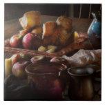 Comida - un tributo a Rembrandt - manzanas y Rolls Azulejo Ceramica