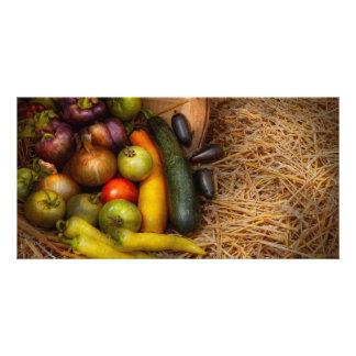 Comida - verduras - cosecha muy temprana plantilla para tarjeta de foto