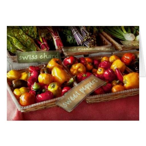 Comida - verduras - pimientas dulces para la venta tarjeton