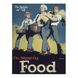 Comida WWI - Dibujo animado del vintage Tarjeta Postal