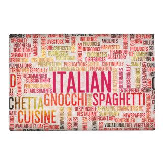 Comida y fondo italianos del menú de la cocina tapete individual