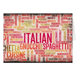 Comida y fondo italianos del menú de la cocina tarjeta pequeña