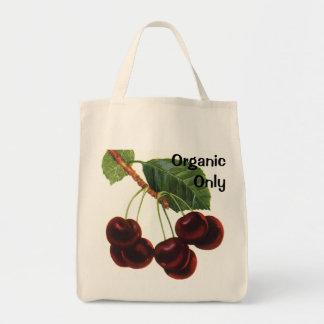 Comidas de la fruta del vintage, cerezas maduras bolsa tela para la compra