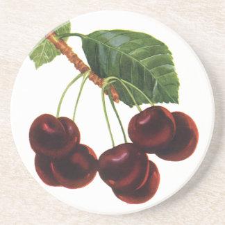 Comidas de la fruta del vintage, cerezas maduras posavaso para bebida