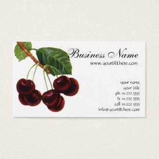 Comidas de la fruta del vintage, cerezas maduras tarjeta de negocios