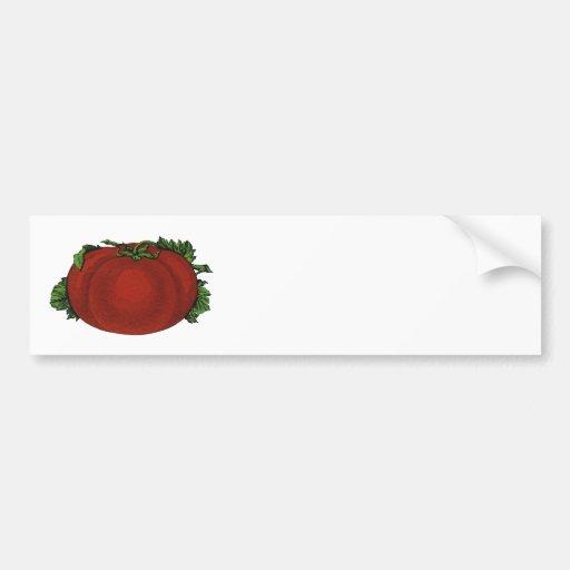 Comidas del vintage, frutas, verduras, tomate madu etiqueta de parachoque
