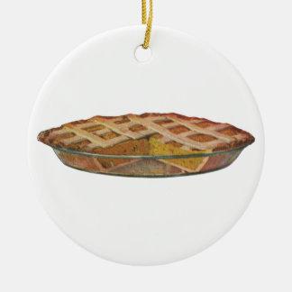 Comidas del vintage, postre, pastel de calabaza de adorno navideño redondo de cerámica