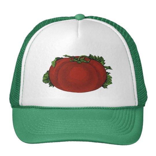 Comidas del vintage, tomate maduro, verduras y gorras de camionero