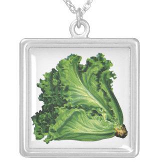 Comidas del vintage, verduras, lechuga de hoja collares personalizados