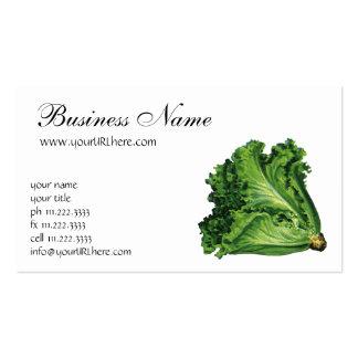 Comidas del vintage, verduras, lechuga de hoja ver tarjetas de visita