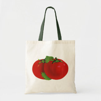 Comidas del vintage, verduras, tomate maduro rojo bolsa tela barata