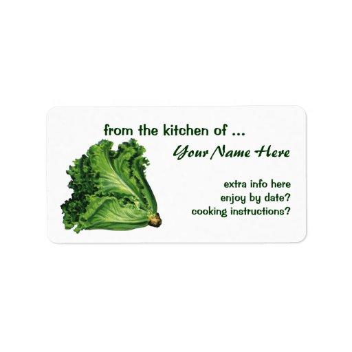 Comidas del vintage, verduras verdes de la lechuga etiqueta de dirección