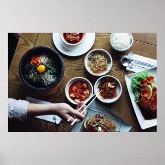 Comidas fermentadas coreano Kimchi Póster