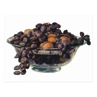 Comidas, fruta y nueces, nueces y almendras del tarjeta postal