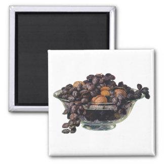 Comidas, fruta y nueces, nueces y almendras del vi imán de nevera