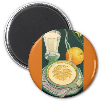 Comidas sanas del vintage bebidas desayuno sano iman de frigorífico