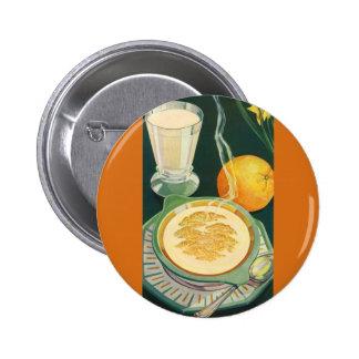Comidas sanas del vintage, bebidas, desayuno sano pin redondo de 2 pulgadas