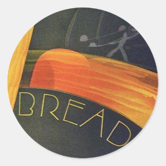 Comidas sanas del vintage, pan entero del trigo pegatina redonda