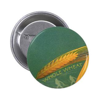 Comidas sanas del vintage, pan entero del trigo pin redondo de 2 pulgadas