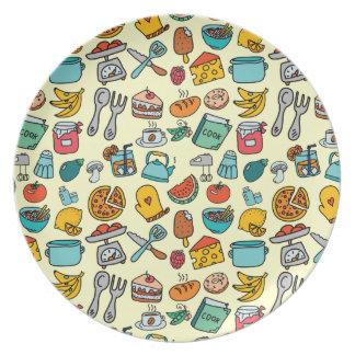 Comidas y herramientas dibujadas mano de la cocina platos de comidas